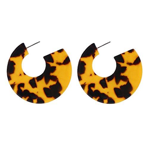 Tortoise Acetate - Resin Hoop Earrings Acrylic Round Circle Dangle Tortoise Shell Ear Drops Jewelry for Women B0107T