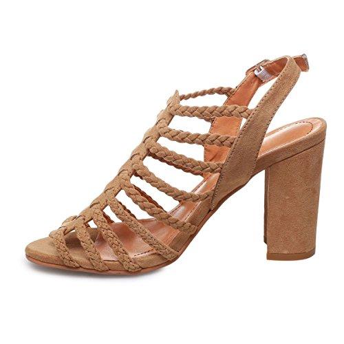 COOLCEPT Hot Sale Moda Mujer Cordones Knee High Gladiator Tacon de Vaquero Sandalias with Cremalleras (40 EU ,1172 Black)