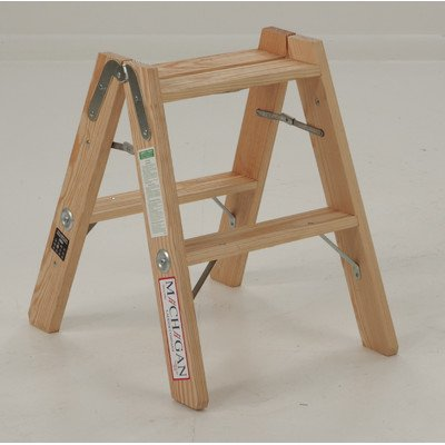 Michigan Ladder Michigan Ladder 1370-02 300 Pound Duty Rating Type 1A Tradesman Wood Double Front Stepladder, 2-Foot by Michigan Ladder