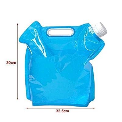 Ddoq pliable de 5L d'eau potable Conteneur de stockage Sac pochette pour le camping (Bleu)