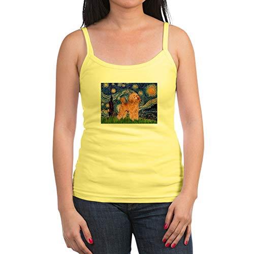 CafePress Starry/Poodle (Apricot) Jr. Spaghetti Tank Top, Soft Cotton Tank with Thin Straps