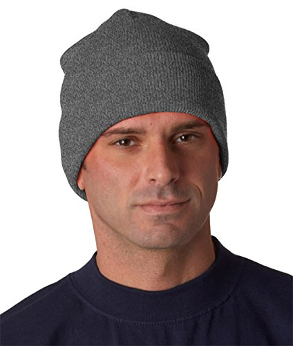 Heavyweight Knit Cap - Yupoong Heavyweight Cuffed Knit Cap - Heather Grey