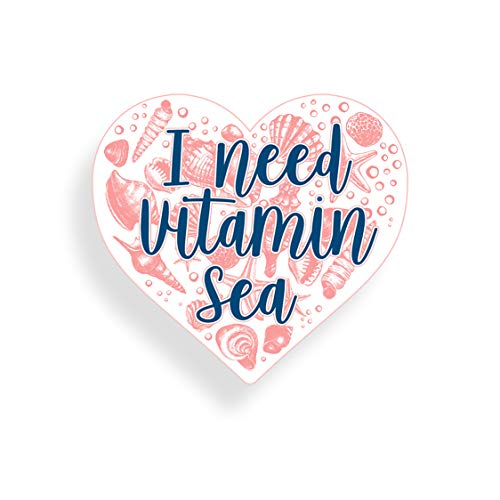 I Need Vitamin Sea Seashell Heart Sticker Car Truck Window Bumper Vinyl Decal Cooler Ocean Beach Graphic Cup Laptop