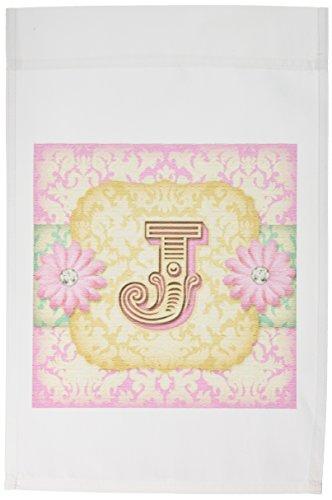 (3dRose fl_102842_1 Regal Pastel Mod Damask Monogram Initial J Garden Flag, 12 by 18-Inch)
