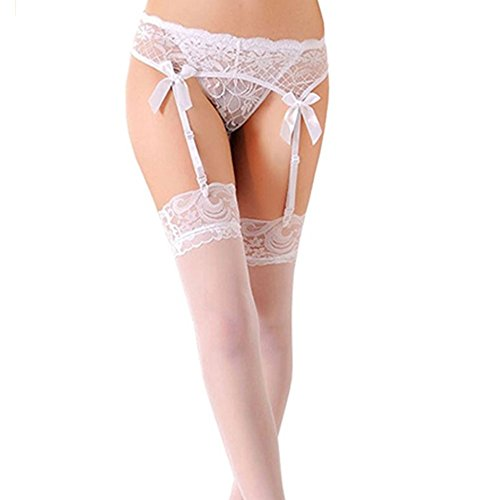 MISMXC Women's 3 Pieces Lace Garter Belt Stockings Sets with Butterfly Panty (White)