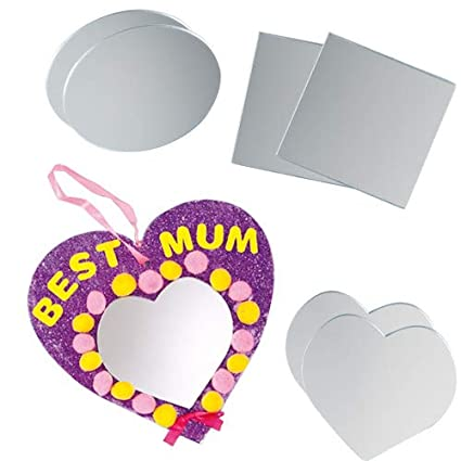 Amazon Com Baker Ross Assorted Acrylic Mirrors For Children S Craft