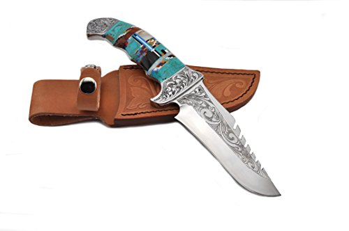Custom Made 9 ½ Inch Fixed Blade Knife with Turquoise/Coral Inlay Handle and Leather Sheath (Handle Lapis Blue)