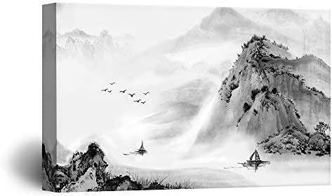Chinse Ink Painting Style Landscape of Mountains and Rivers with Boat