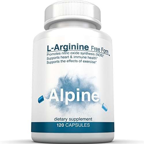 Alpine Nutrition L-Arginine Free Free - NOS Nitric Oxide synthesis Capsules - 120 Veggie Capsules