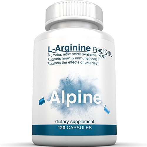 Alpine Nutrition L Arginine HCL 500mg Free Form NOS Nitric Oxide Supplements 250 Count