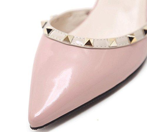 Verano Nude de Tacones Baja Grueso LBDX Tacón Altos y Zapatos Pointed Remache Baotou Pink Boca Mujer Otoño RxZUdq
