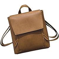LLguz Fresh Unique And Lively Women Fashion Simple Leather Rucksack Travel Backpack Bookbags (Khaki)