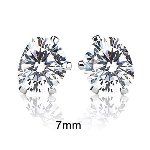 Men's Silver Stud Earrings Female Brincos Cute Circle Cubic Zirconia Crystal Earing Jewellery Korean for $<!--$14.88-->