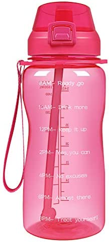 YIREN Half Gallon Water Bottle with Straw and Motivational Time Marker 64oz Large Capacity Leak Proof BPA Free Fitness Sports Water jug