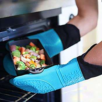 Oven Mitts Silicone Heat Resistant Gloves with Quilted Liner BBQ Kitchen Pot Holder Non-Slip Potholder for Baking Cooking Barbecue,2 Pack, Blue