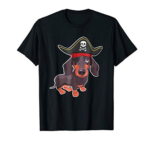 Funny DACHSHUNDS Pirate Costume Halloween Dog Lovers T Shirt
