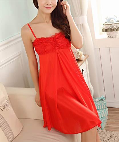 da Senza Camicia Pigiama Comoda Cotone Donna Maniche Notte BESTHOO Casual Vestito Notte Sleepwear Red da Pigiama da Abito da Estivo IwRq4WxEv