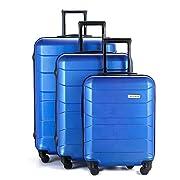 Sommerson Basic 3er Set 4-Rollen Hartschalen-Koffer Trolley Rollkoffer Reisekoffer aus hochwertigem ABS Kunststoff…