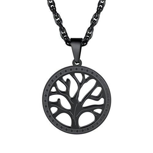 PROSTEEL Black Necklace,Tree of Life,Womens Jewelry,Gift for Men,Pendant Necklace,Round Tree Pendant,Minimalist
