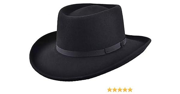 e2f2f7180 Maz Crushable Wool Felt Gambler Cowboy Hat - Black