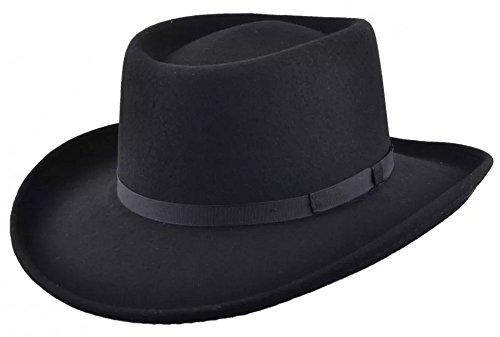 Maz Crushable Wool Felt Gambler Cowboy Hat - Black (59cm) -
