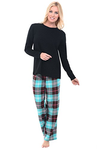 Alexander Del Rossa Womens Flannel Pajamas, Knit Top Cotton Pj Set, Large Teal and Brown Plaid (A0700Q23LG) Soft Flannel Pajamas