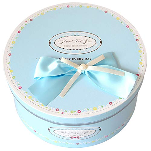 Cyan Round Gift Box with Lid Suitable for