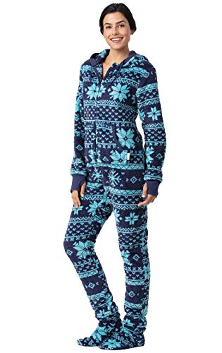 Christmas Fun For Adults (PajamaGram Women's Fleece Adult Onesie - Onesies for Women, Blue, Large /)