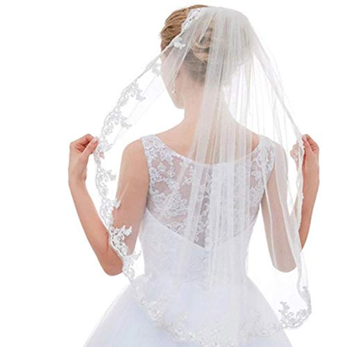 - Beautyflier Bridal Veil Fingertip Length 1 Tier Floral Embroider Lace Edge Wedding Veil with Comb (0.9M)