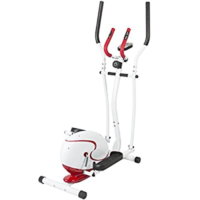 Best Choice Products Red Magnetic Elliptical Trainer Fitness Space Saver Machine Cardio Workout Gym