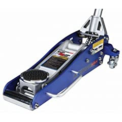Rapid Pump® high performance aluminum racing jack has a dual parallel pump system to lift most vehicles to an appropriate work height in just 3-1/2 pumps! Lightweight, compact design takes up less space on your shop floor, easier to transport...