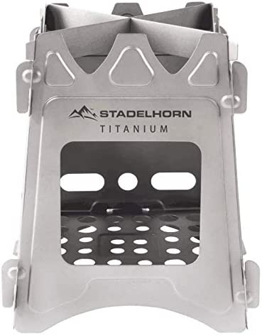 STADELHORN Titanium Minimalist Wood Stove Ultralight 100 Pure Titanium Portable Foldable for Camping, Backpacking, Hiking, and Bushcraft Survival. Stronger and Lighter vs Steel, weighs only 7.3 oz.