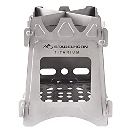 STADELHORN Titanium Minimalist Wood Stove Ultralight 100% Pure Titanium Portable & Foldable for Camping, Backpacking, Hiking, and Bushcraft Survival. Stronger and Lighter vs Steel, weighs only 7.3 oz.