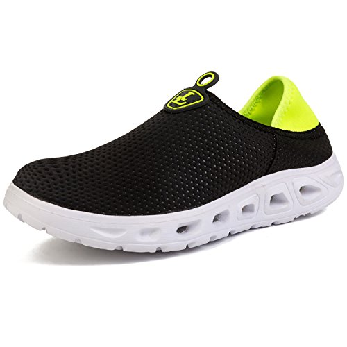 L-RUN Mens Water Shoes Outdoor for Beach Pool Yoga Black Fluorescent 7.5 D(M) US