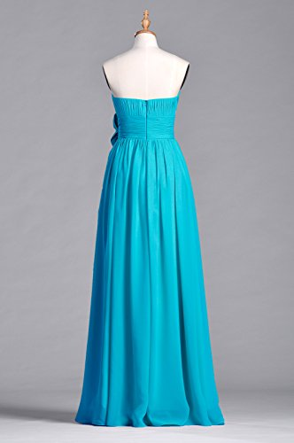 Long A Strapless Chiffon Dress Cyan Adorona Line Women's FxqXXBn