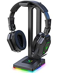 Blade Hawks RGB Gaming Headset Stand       Goodbye to The Messy Desk, Feel More ComfortableIt allows headphones to sit comfortably on its stand as its stand on your desk, table or shelving unit. Helping you organize your desk, saving s...