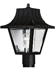 Progress Lighting P5414-31 Post Lantern with Ribbed Mansard Roof Beveled Clear Acrylic Panels
