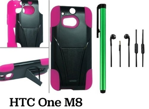 HTC One (M8) Premium Heavy-Duty KickStand Design Protector Hard Cover Case (For 2014 HTC new flagship Android phone; Carrier: Verizon, AT&T, T-Mobile, Sprint) + 3.5MM Stereo Earphones + 1 of New Assorted Color Metal Stylus Touch Screen Pen (PINK / BLACK)