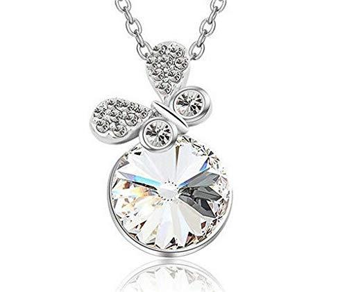 - NEW Women White Crystal Rhinestone Butterfly Silver Chain Pendant Necklace пјЃпјЃпјЃ