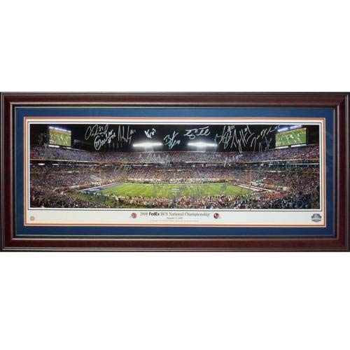 2008 Florida Gators National Champions Team And Tim Tebow Autographed Signed Auto 2009 BCS Championship Deluxe Framed Panoramic Photograph 34 Signatures - Certified Authentic