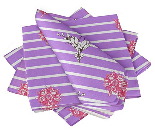 S4Sassy Purple Stripe & Rose Bouquet Floral Cotton Napkin Printed Everyday Basic Washable Table Linen 20 x 20(Pack of 6)