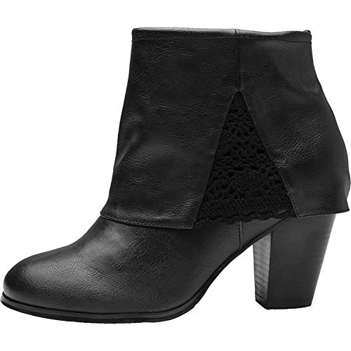 Luoika Women's Wide Width Ankle Boots - Chunky Block Heel Embroidery Flower Stitching Booties.(180530,Black,8.5WW) - Mid Heel Leather Insoles