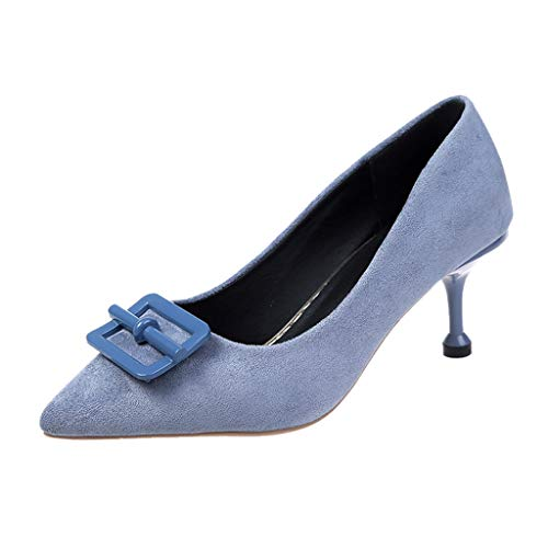 (Cenglings Women Sexy Flock Pointed Toe Stiletto Heel Pumps Causal Slip On Buckles Work Shoes Shallow Sandals Blue)