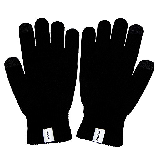 Wool Ski Glove Liner with Touch Screen Technology – Premium Merino Wool Winter Gloves for Skiing, Cold Weather (M, Black)