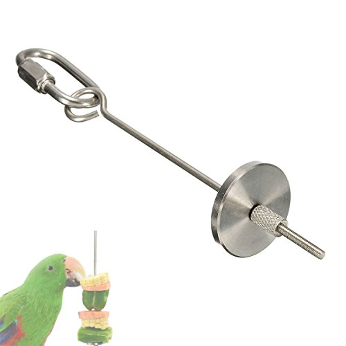 ASOCEA Bird Parrot Small Animal Stainless Steel Skewer, Seed Treat Fruit Holder Cage