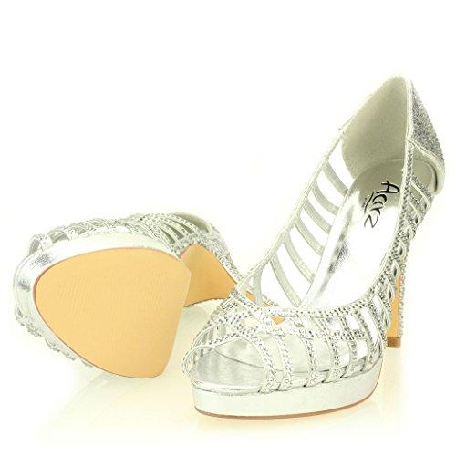 Mujer Señoras Noche Boda Party Alto tacón Stiletto Diamante Peep Toe Nupcial Sandalia Zapatos tamaño (Oro, Plata, Negro) Plata