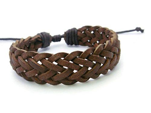 APECTO Jewelry Mens Womens Brown Braided Genuine Leather Wristband Cuff Bracelet Handmade, SB8