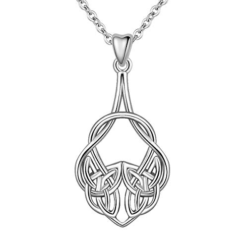 INFUSEU 925 Sterling Silver Good Luck Irish Celtic Knot Triangle Vintage Pendant Necklace for Women Jewelry ()