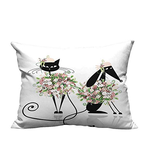 (YouXianHome Pillowcase with Zipper Glamor Cat and Dog in Floral Clothes High Fashion Stylish Female Design Ultra Soft & Hypoallergenic (Double-Sided Printing) 20x35.5 inch)