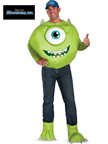 (Disguise Men's Disney Pixar Monsters University Mike Deluxe Costume, Green/White/Blue,)
